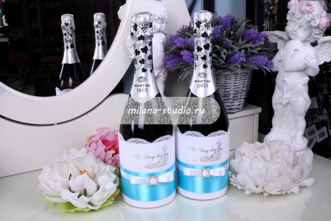 Комплект на свадебное шампанское «Tiffany&Co»