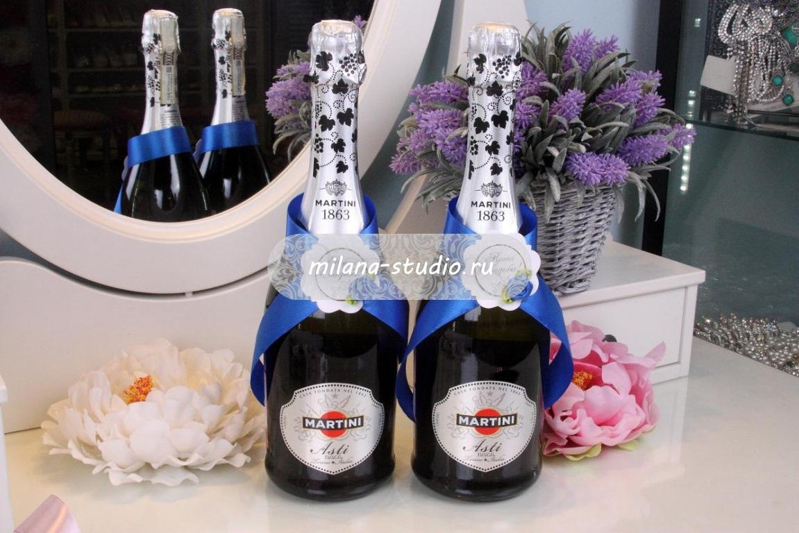 Комплект лент на шампанское «Индиго»