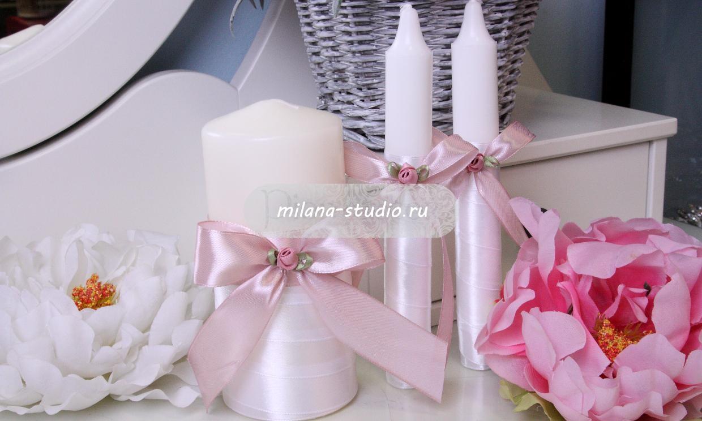 Комплект свечей «Пепельная розочка»