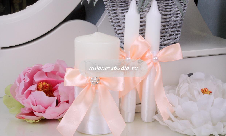 Комплект свечей «Персиковый»