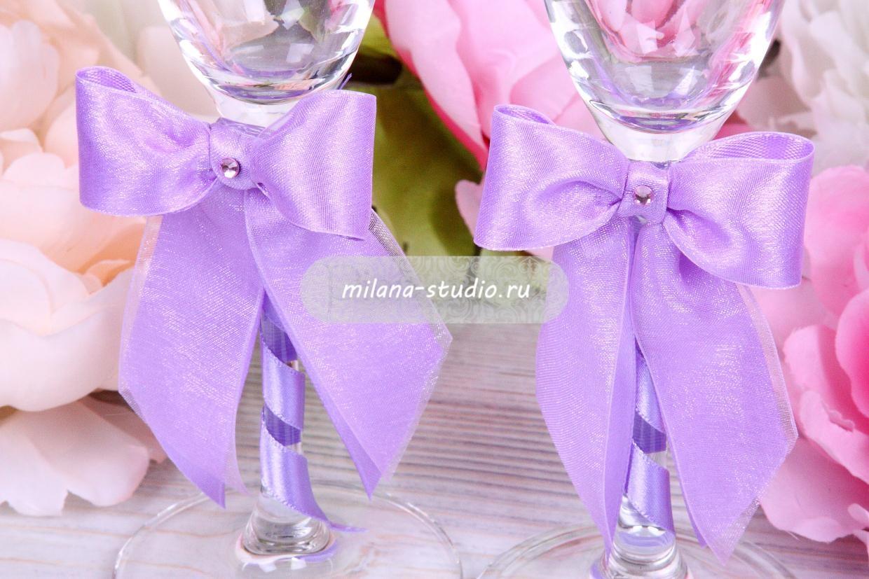 "Свадебные бокалы с декором ""Лаванда"""