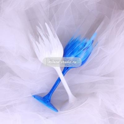 "Бокалы ""Лебеди"" - бело-синие"