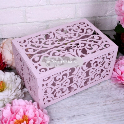 Коробка для конвертов «Узоры» пепельная роза