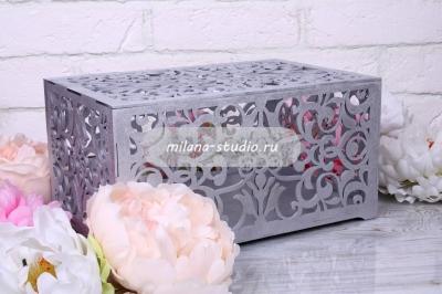Коробка для конвертов «Узоры» - серебро