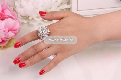 Кольцо «Роза» серебристое