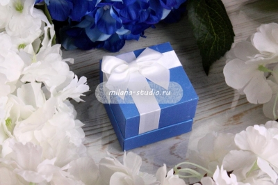 """Синяя коробочка для колец """"Бант"""""""