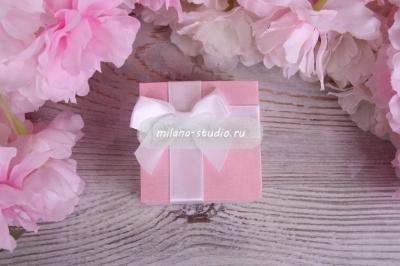 """Коробочка для колец """"Бант"""" в цвете нежной розы"""
