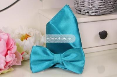 Комплект бабочка и платочек «Изумрудно-бирюзовый»