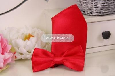 Комплект бабочка и платочек «Марсала»