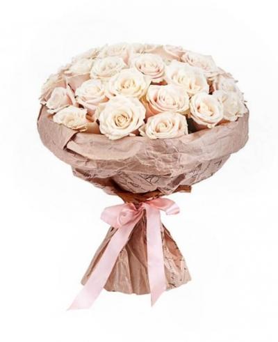 Букет из 25 шт кремовых роз