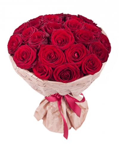 Букет из 25 шт бордовых роз