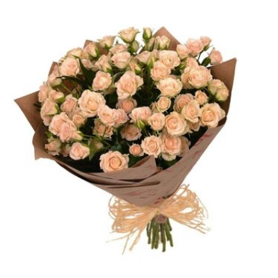 Букет из 25 шт кустовых кремовых роз