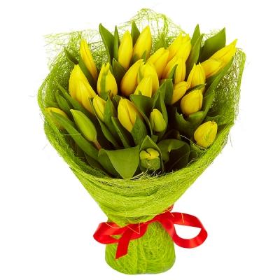 Букет из 25 шт желтых тюльпанов